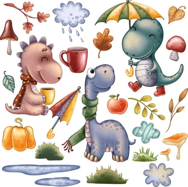 Clipart de dinosaures ensemble d'automne avec des dinosaures mignons et des éléments de décoration avec des feuilles de citrouilles de pluie