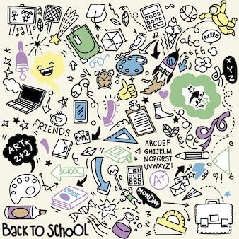 Clipart école. icônes et symboles de l'école de doodle de vecteur. objets d'éducation stadying dessinés à la main