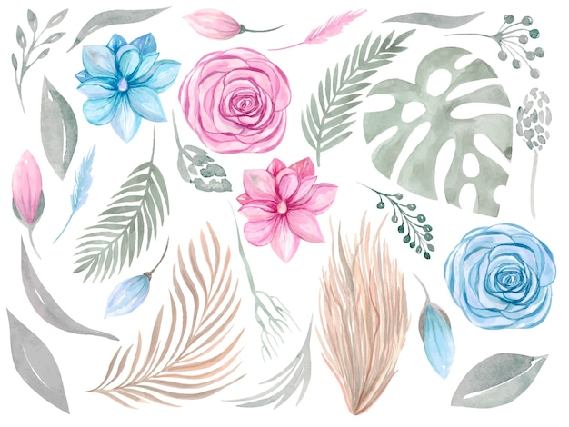 Clipart élément floral. collection boho. ensemble de verdure fleur rose magnolia