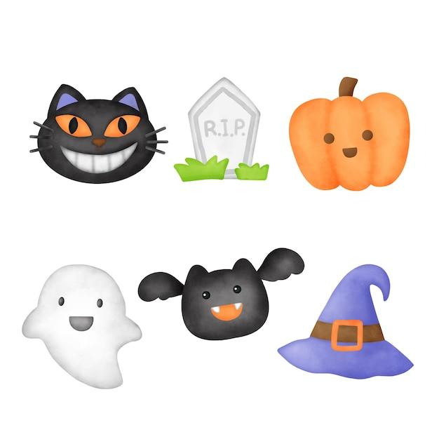 Clipart d'éléments d'halloween mignon aquarelle.