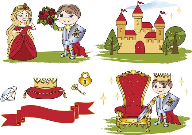 Clipart de fée petit roi château couleur illustration vectorielle