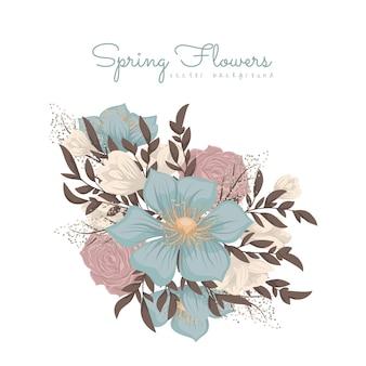 Clipart avec des fleurs roses et bleu clair