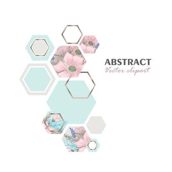 Clipart floral abstrait