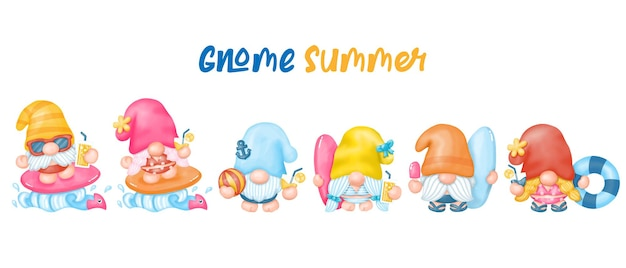 Clipart de gnomes d'été, gnomes de plage, aquarelle peinture numérique