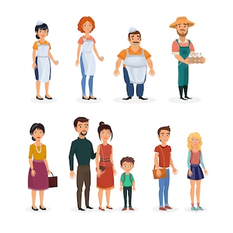 Clipart illustration avec des personnages de la boutique