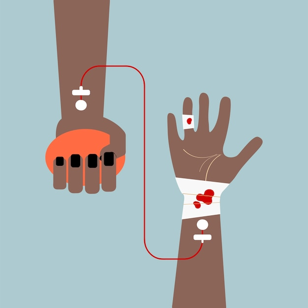 Clipart d'illustration vectorielle de transfusion sanguine