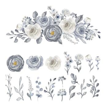 Clipart isolé fleur aquarelle bleu marine et blanc
