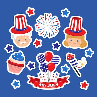 Clipart mignon pour l'autocollant de la fête de l'indépendance américaine du 4 juillet à plat