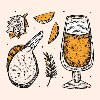 Clipart oktoberfest, ensemble d'éléments. de l'alcool. verre de bière artisanale, collations, restauration rapide. traditions allemandes, cuisine nationale. pomme de terre frite, steak, plante de houblon.