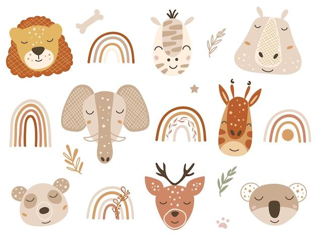 Clipart safari avec des visages de bébés animaux et des arcs-en-ciel. illustration vectorielle.