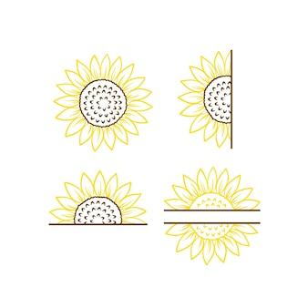 Clipart et vecteur de monogramme de tournesol