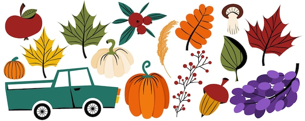 Clipart vectoriel de vacances d'automne de thanksgiving dans un style plat un ensemble de légumes et de fruits pour l'automne