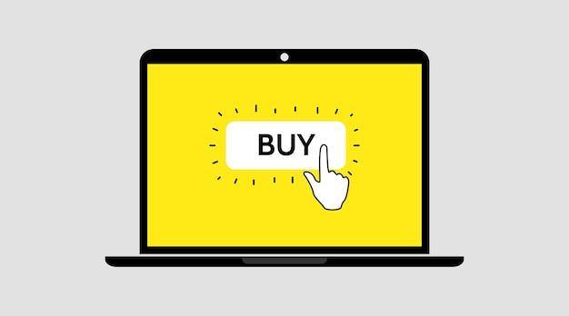 Cliquez sur le bouton acheter à la main. shopping en ligne. commander en ligne. modèle d'écran pour ordinateur portable.