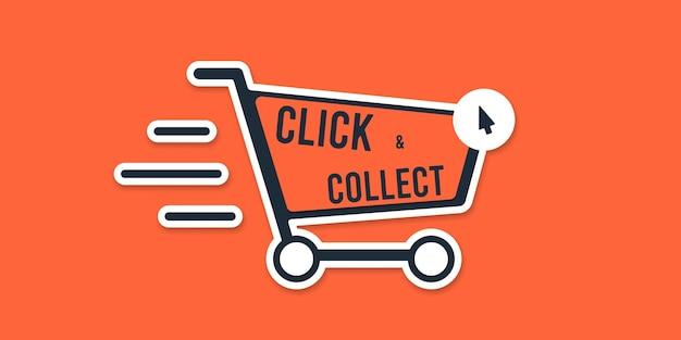 Cliquez et collectez le signe du panier de magasin