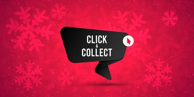Cliquez et collectez le signe vectoriel sur fond de neige.
