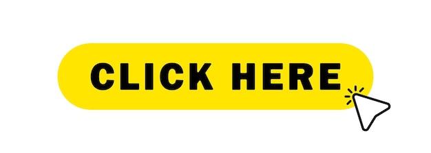Cliquez ici bouton avec curseur main. cliquez ici icône avec le pointeur de la main en cliquant.