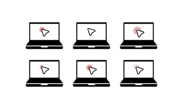 Cliquez sur l'icône. icône de symbole de curseur. ordinateur portable de symbole de clic de souris, ordinateur portable. commerce électronique