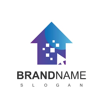 Cliquez sur le logo de la maison, symbole du lieu de la technologie