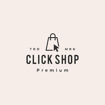 Cliquez sur le logo vintage du sac shopping