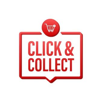 Cliquez sur le mégaphone et collectez la bannière. style plat. icône de vecteur de site web. illustration vectorielle de stock.