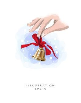 Cloche brillante avec un ruban rouge