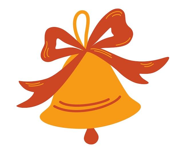 Cloche dorée avec ruban rouge. symbole de noël, concept de cloche d'école.