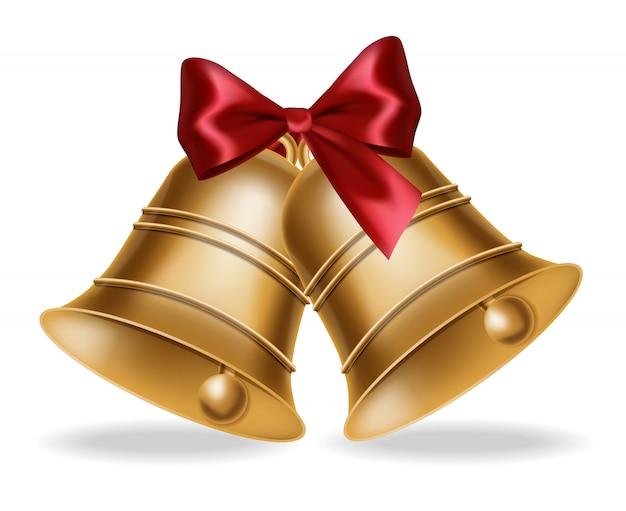 Cloche d'or avec illustration noeud de soie rouge