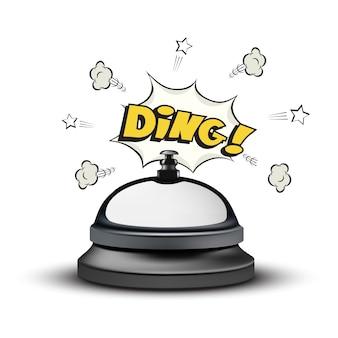 Cloche de réception réaliste et signe ding dans un style bande dessinée sur fond blanc.