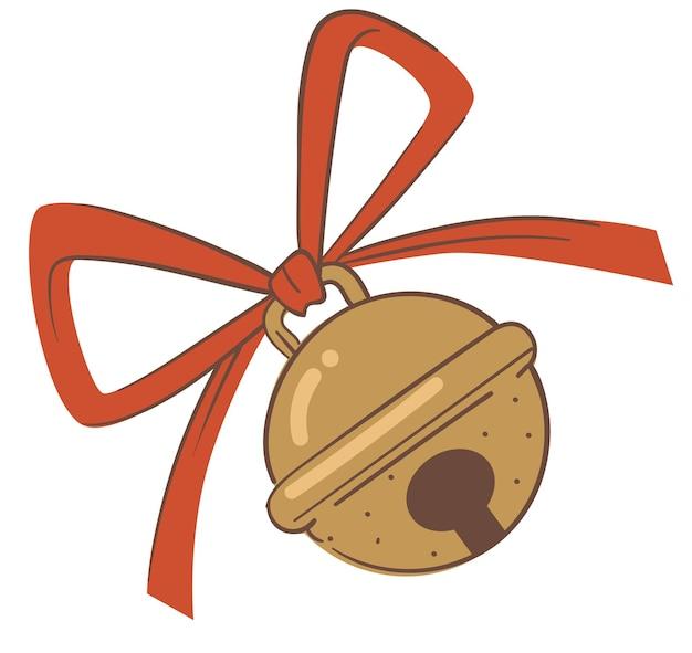 Cloche avec ruban rouge, symbole décoratif isolé pour la célébration de noël et du nouvel an. vacances d'hiver et ambiance festive. icône isolée, décoration saisonnière de noël. vecteur dans un style plat