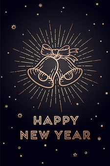 Cloches de noël. bonne année. carte de voeux avec texte bonne année