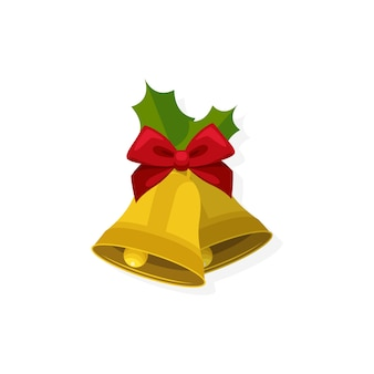 Cloches de noël dorées avec un arc rouge