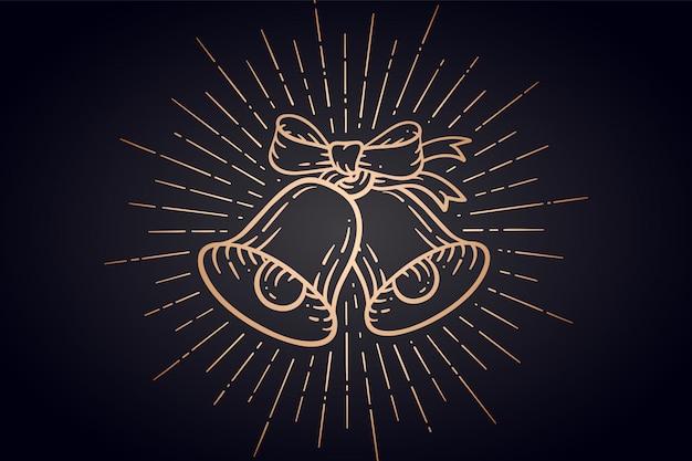 Cloches de noël. signe d'or jingle bells avec rayons lumineux