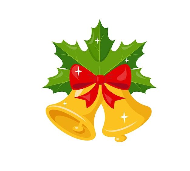 Cloches d'or avec des branches d'arbres vertes et ruban d'arc rouge décoration de noël et du nouvel an