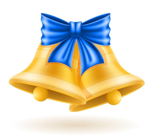 Cloches d'or de noël avec noeud