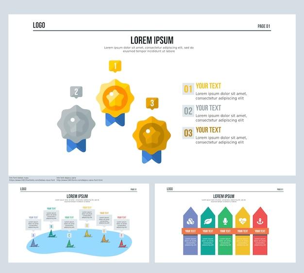 Clôture de bateau de médaille ensemble diapositive de présentation et modèle powerpoint