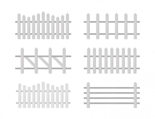 Clôture en bois. clôture rustique, piquets. illustration.