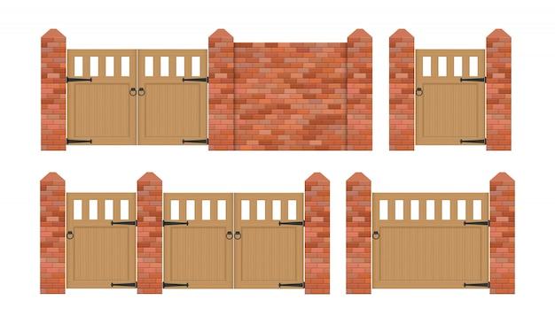 Clôture en brique avec illustration de porte en bois isolé sur fond blanc
