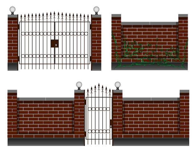 Clôture, entrée avec une clôture en brique, portails en fer forgé et un portail. pour la cour et le chalet des maisons privées.