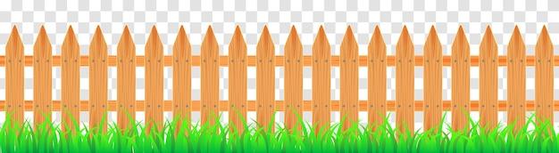Clôture de fermier en bois avec de l'herbe