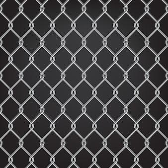 Clôture à mailles métalliques sans soudure sur fond noir