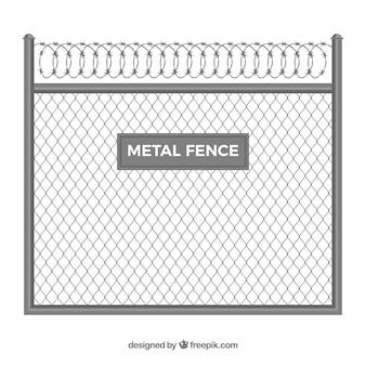 Clôture en métal avec fil de fer barbelé
