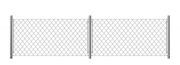 Clôture métallique isolé sur fond blanc.
