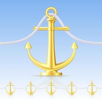 Clôture sans couture comportant une ancre d'or. illustration vectorielle