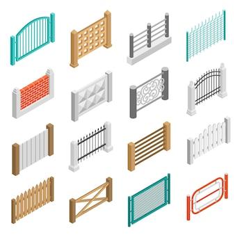 Clôture types eléments icônes isométrique collection