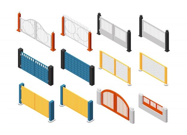 Clôtures isométriques. clôture en bois, balustrade de jardin. jeu de vecteur 3d isolé