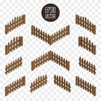 Clôtures et portails isométriques en bois.