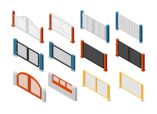 Clôtures et portes isométriques. clôture de ferme rurale. jeu de vecteur 3d