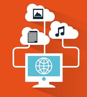 Le cloud computing au cours de l'illustration vectorielle fond rouge