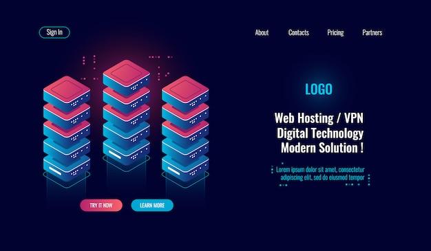 Cloud computing, icône isométrique de la salle des serveurs, traitement de données volumineuses, centre de données de base de données