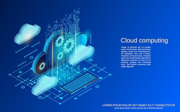 Cloud computing illustration de concept de vecteur isométrique plat